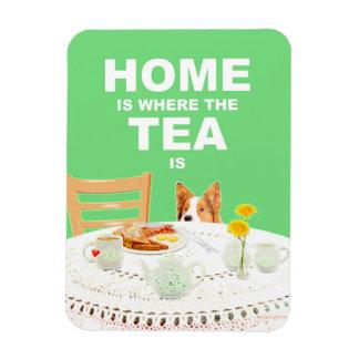 3X4犬の磁石-茶があるところでがあります家 マグネット