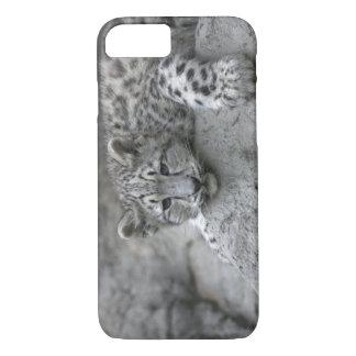 4か月の古いユキヒョウの幼いこどもは石におおいました iPhone 8/7ケース