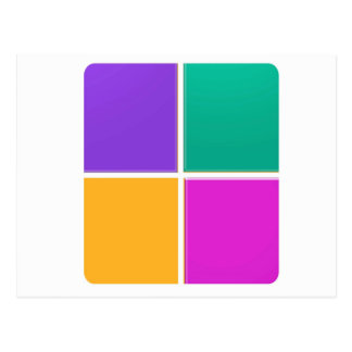 4つのカラフルな正方形: 低価格エレガントなギフト ポストカード