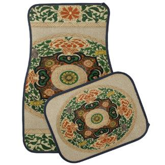 4つのカーマットのヴィンテージの曼荼羅の花葉セット カーマット