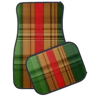 4つのカーマットの赤い緑および金ゴールドの格子縞セット カーマット