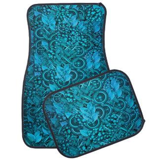 4つのカーマットの青く装飾的な要素のデザインセット カーマット