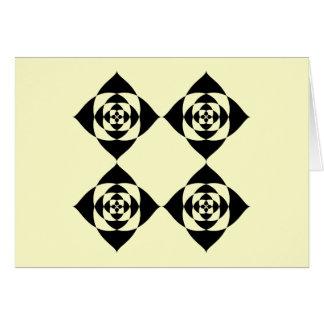 4つのスタイリッシュで黒い花。 クリーム色の背景 カード