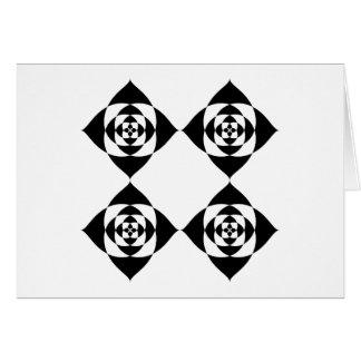 4つのスタイリッシュで黒い花。 白 カード