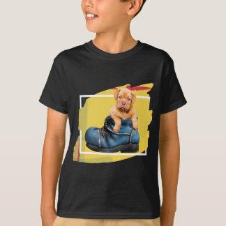 4つのフレーム色の男の子の小犬のTシャツ! Tシャツ