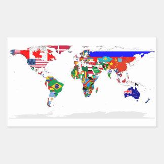 4つの世界の国旗の地図 長方形シール