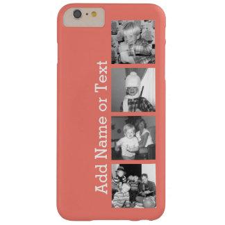 4つの写真が付いているInstagramの写真のコラージュ-珊瑚 Barely There iPhone 6 Plus ケース