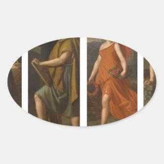 4つの店のシンボルや象徴(Hygieia、ヒポクラテス、Galen…) 楕円形シール