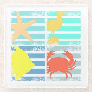 4つの海のデザインの正方形 ガラスコースター