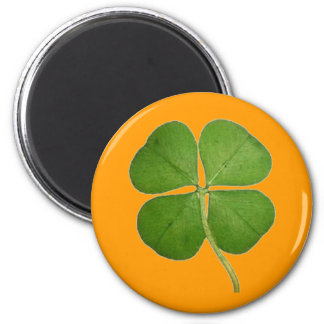 4つの葉のクローバーのシャムロックのオレンジを実在して下さい マグネット