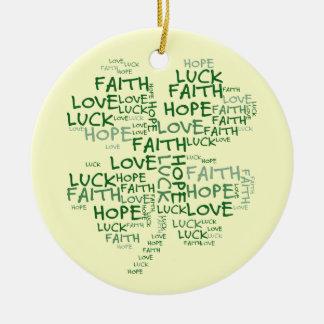 4つの葉のクローバーの意味: 希望、信頼、愛、運 セラミックオーナメント
