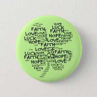 4つの葉のクローバーの意味: 希望、信頼、愛、運 缶バッジ