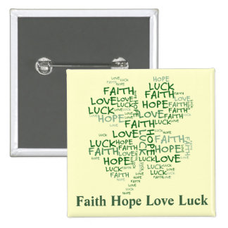 4つの葉のクローバーの意味: 希望、信頼、愛、運 5.1CM 正方形バッジ