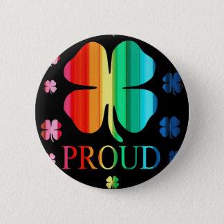 4つの葉のクローバーの虹RoyGeeBiv - LGBT 5.7cm 丸型バッジ