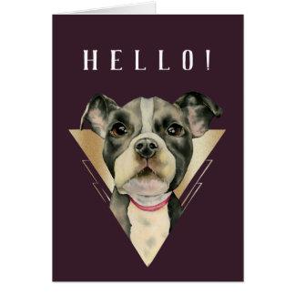 """4つを絵を描いている""""子犬""""はピット・ブル犬の水彩画を注目します カード"""