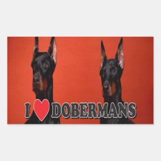 4のシート- I愛ドーベルマン犬のステッカー 長方形シール