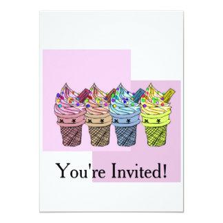 4アイスクリームのパーティの招待状 カード