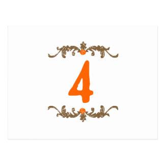 #4オレンジ及びブラウンスクロール ポストカード