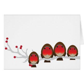 4クリスマスカード(1人の男の子1の女の子)のロビンの系列 カード