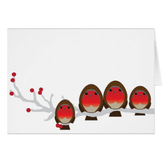 4クリスマスカード(2人の男の子)のロビンの系列 カード