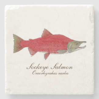 4セットの紅鮭のコースター1 ストーンコースター