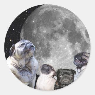 4パグの月のパグ ラウンドシール