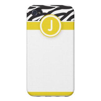 4ファンキーなシマウマのレモンか黒 iPhone 4 COVER