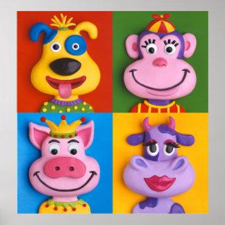 4人の動物の顔の子供の部屋の子供部屋 ポスター