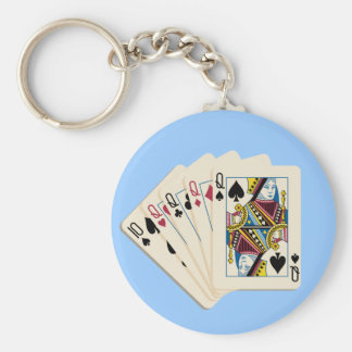 4人の女王-チャームに勝つトランプのポーカーの手の演劇 ベーシック丸型缶キーホルダー