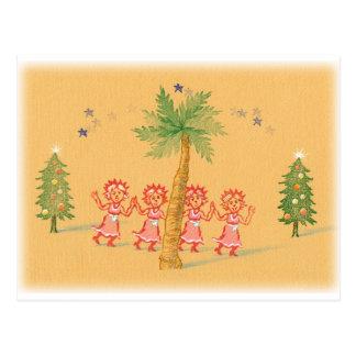 4人の少しクリスマスの女中 ポストカード