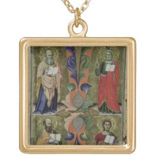 4人の福音伝道者、14世紀(子牛皮紙) ゴールドプレートネックレス