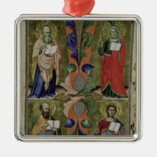 4人の福音伝道者、14世紀(子牛皮紙) メタルオーナメント