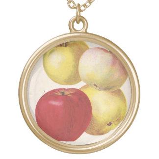 4個のヴィンテージのりんごの図解入りの、写真付きのなペンダント ゴールドプレートネックレス
