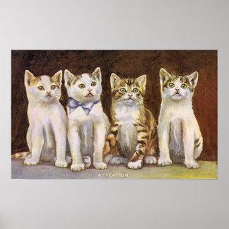 4匹のかわいい子ネコのヴィンテージの絵 ポスター