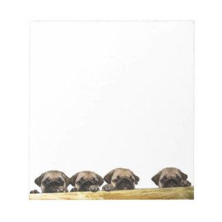 4匹のパグのメモ帳 ノートパッド