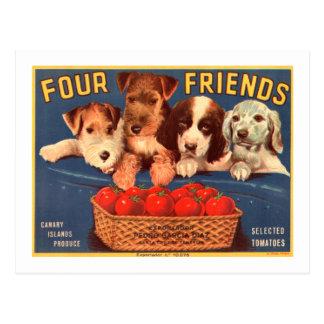 4匹の友人のヴィンテージのトマトの木枠のラベル犬 ポストカード