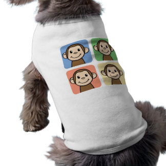4匹の幸せな猿との漫画の切り貼り芸術 ペット服