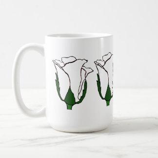 4匹の白いバラのタンブラー コーヒーマグカップ