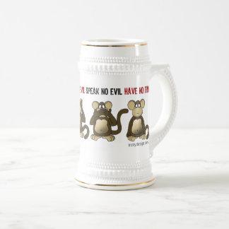 4匹の賢い猿のユーモア ビールジョッキ