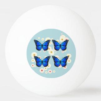 4匹の青い蝶 卓球ボール