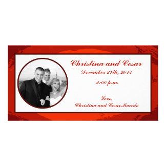 4匹x 8匹の婚約の写真の発表の赤の日没 カード