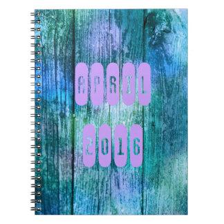 4月2016日の紫色のターコイズ月の月例ノート ノートブック