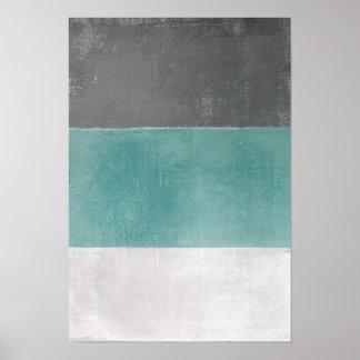 「4月」のターコイズおよび灰色の抽象美術 ポスター