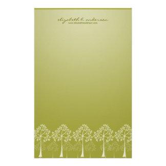 4本の季節の木の白いメッセージカードの文房具 便箋