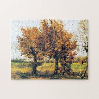 4本の木との秋の景色 ジグソーパズル