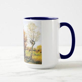 4本の木との秋の景色 マグカップ