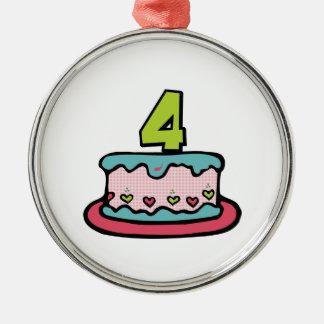 4歳のお誕生日ケーキ メタルオーナメント
