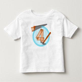 4歳の誕生会の建築者のテーマ トドラーTシャツ