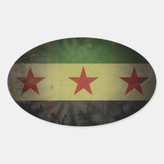 4汚いシリアの旗 楕円形シール