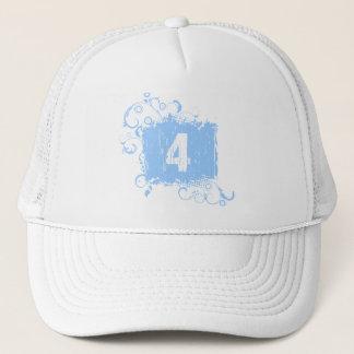 #4淡いブルーのグランジ キャップ